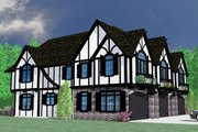 Tudor Style House Plan - 6 Beds 7.5 Baths 5642 Sq/Ft Plan #509-33 Exterior - Front Elevation