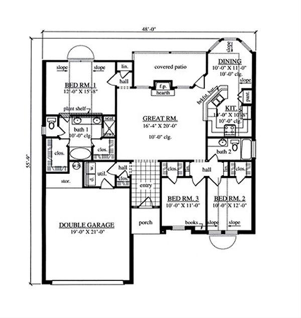 Traditional Floor Plan - Main Floor Plan Plan #42-388
