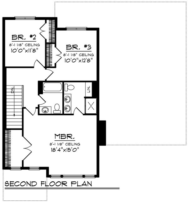 Traditional Floor Plan - Upper Floor Plan Plan #70-1194