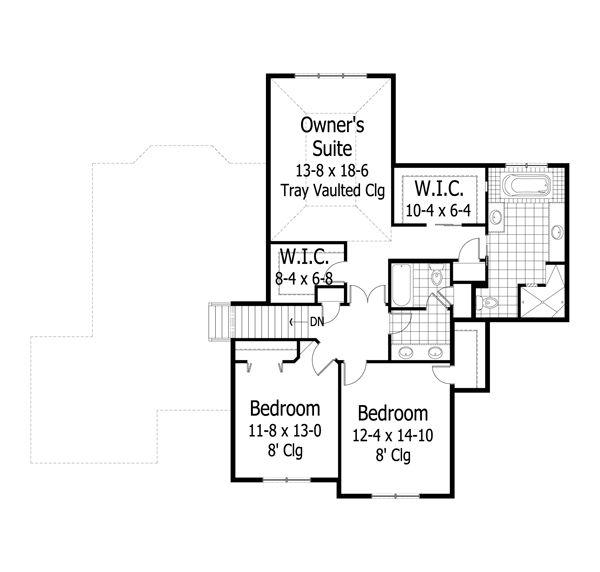 Traditional Floor Plan - Upper Floor Plan Plan #51-506