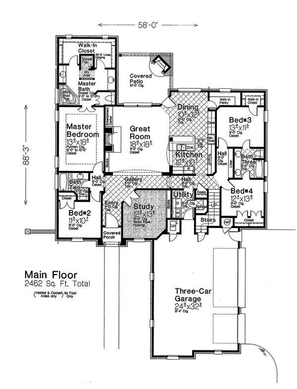 House Plan Design - European Floor Plan - Main Floor Plan #310-1287