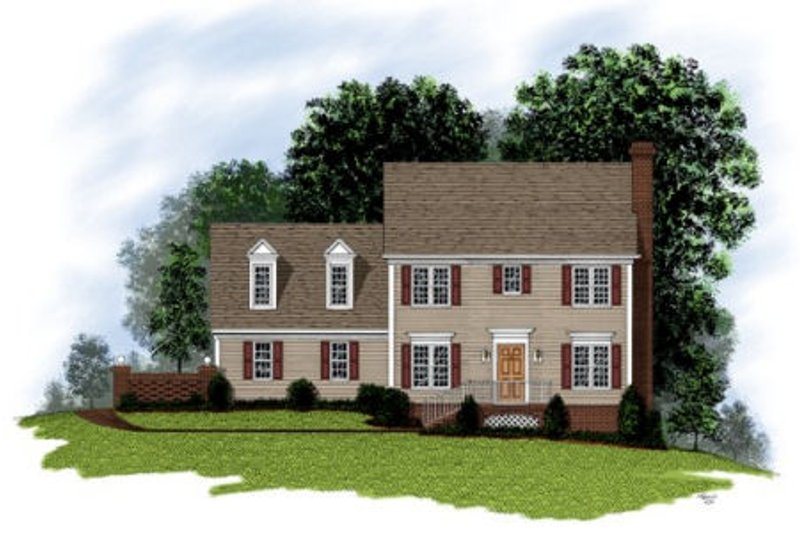 Colonial Exterior - Front Elevation Plan #56-125