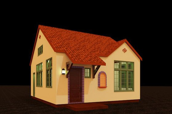 Adobe / Southwestern Exterior - Front Elevation Plan #917-39