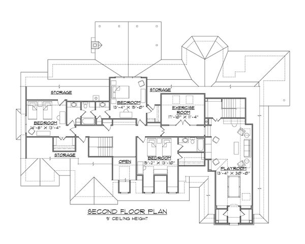 European Floor Plan - Upper Floor Plan #1054-56