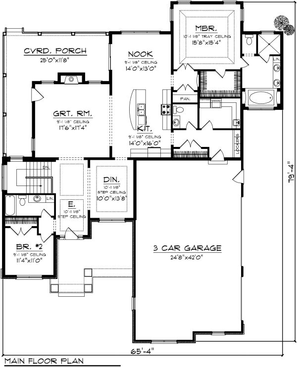 Ranch Floor Plan - Main Floor Plan Plan #70-1136