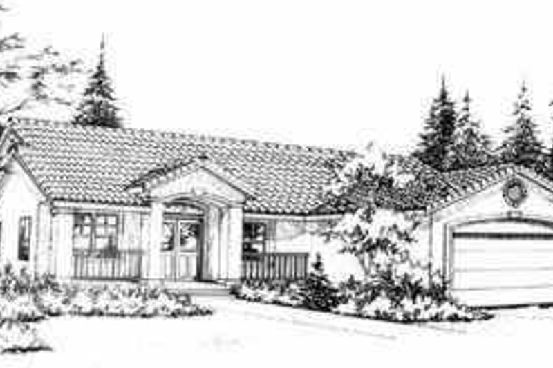 Mediterranean Style House Plan - 4 Beds 2 Baths 1934 Sq/Ft Plan #78-139 Exterior - Front Elevation