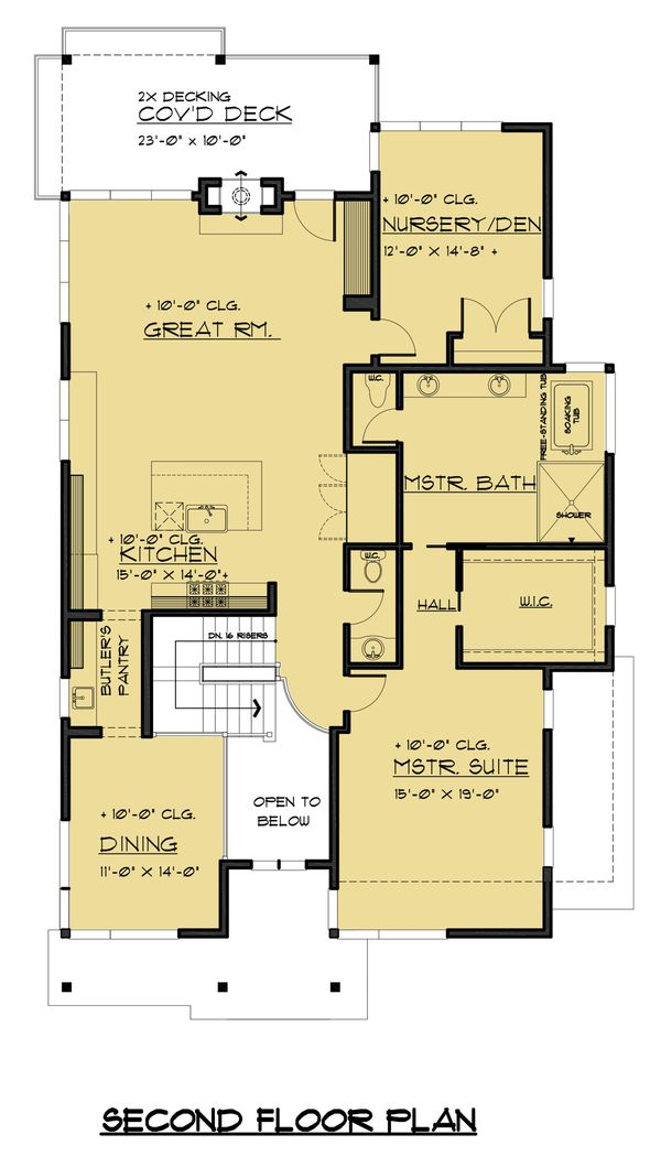 Contemporary Floor Plan - Upper Floor Plan Plan #1066-54