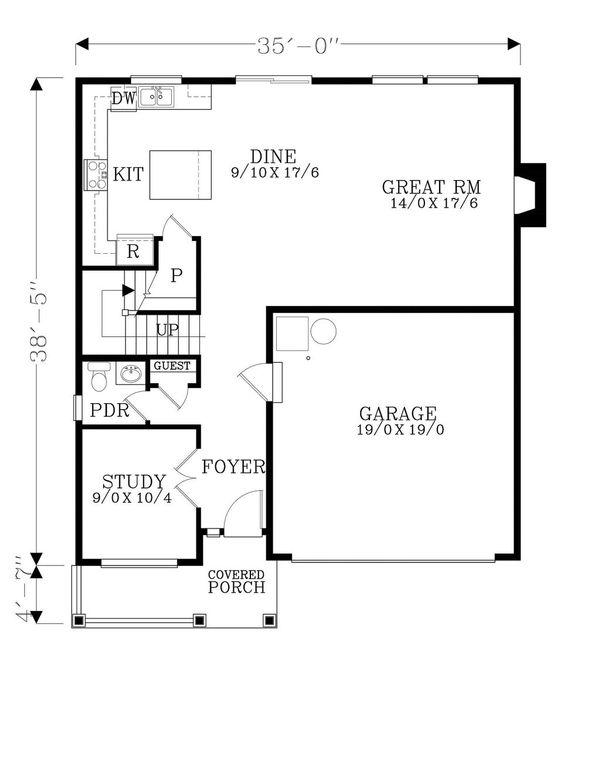 Craftsman Floor Plan - Main Floor Plan #53-505