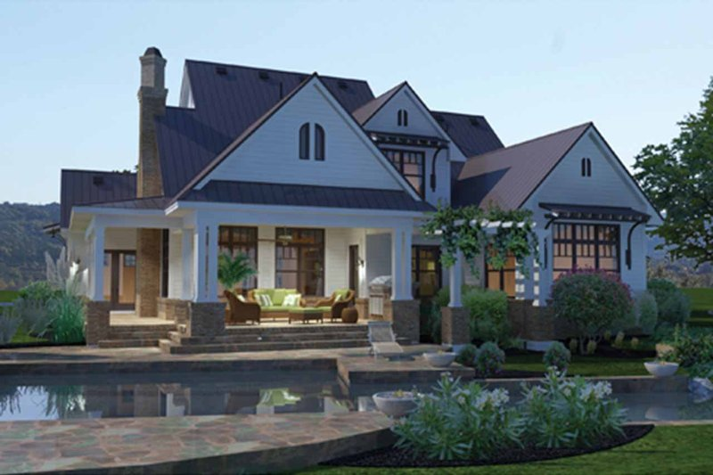 Farmhouse Exterior - Rear Elevation Plan #120-195 - Houseplans.com