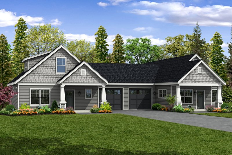 Cottage Exterior - Front Elevation Plan #124-1080