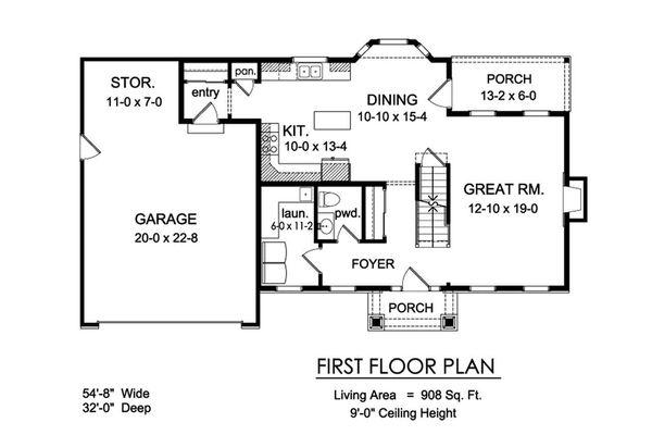 Traditional Floor Plan - Main Floor Plan Plan #1010-222