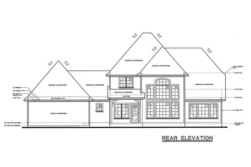 European Style House Plan - 4 Beds 3.5 Baths 2508 Sq/Ft Plan #20-261 Exterior - Rear Elevation