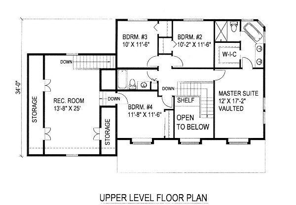 Country Floor Plan - Upper Floor Plan Plan #117-529