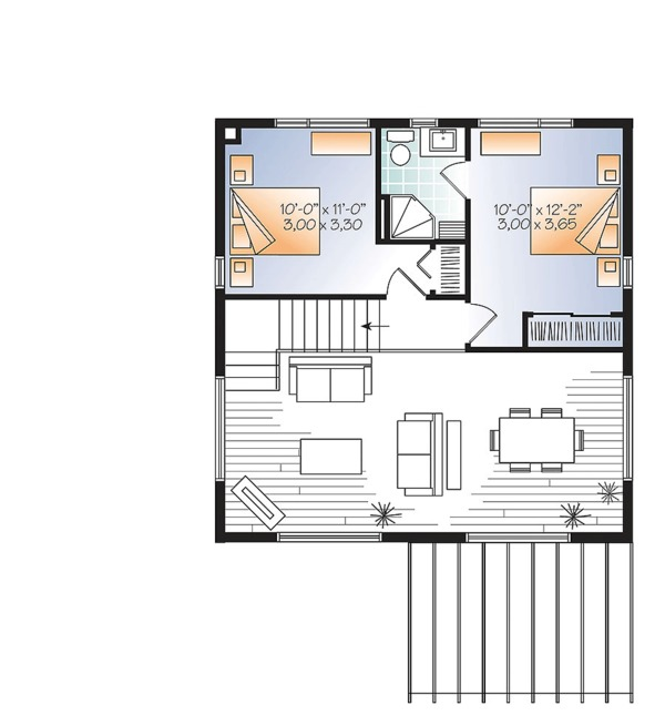 Contemporary Style House Plan - 2 Beds 2 Baths 1200 Sq/Ft Plan #23-2631 Floor Plan - Upper Floor Plan