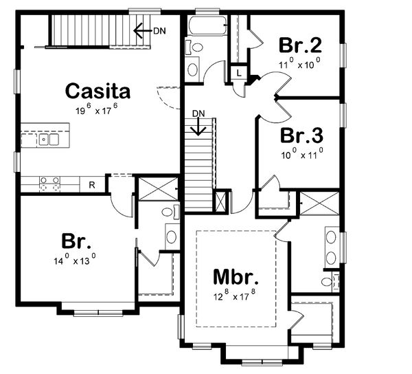 Craftsman Floor Plan - Upper Floor Plan Plan #20-2325