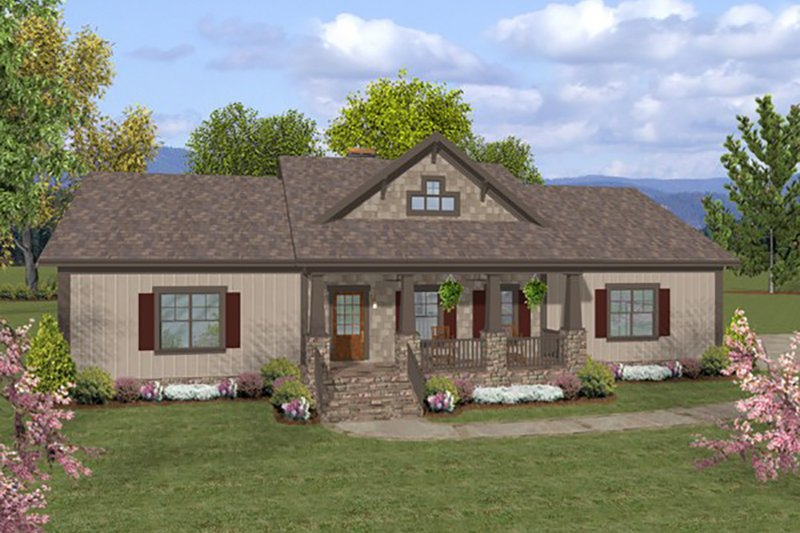 Ranch Style House Plan - 3 Beds 2 Baths 1597 Sq/Ft Plan #56-623 Exterior - Front Elevation
