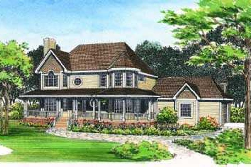 House Blueprint - Country Exterior - Front Elevation Plan #72-136