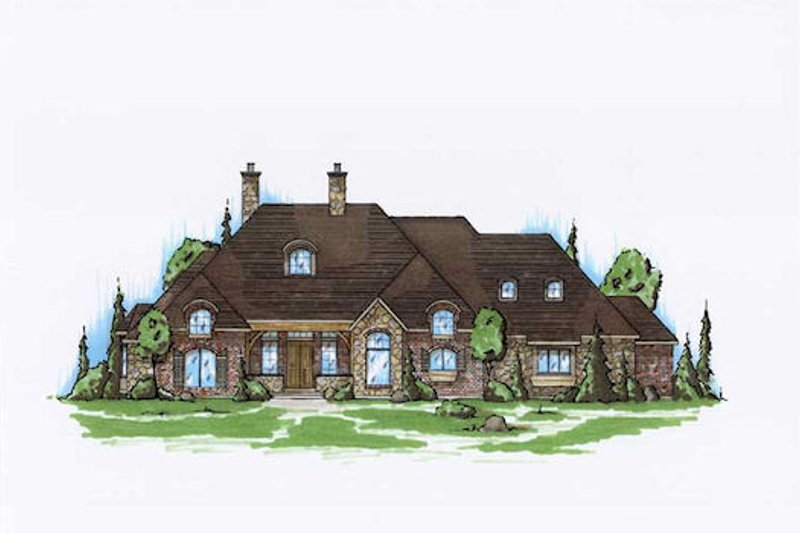European Style House Plan - 6 Beds 5 Baths 2852 Sq/Ft Plan #5-319 Exterior - Front Elevation