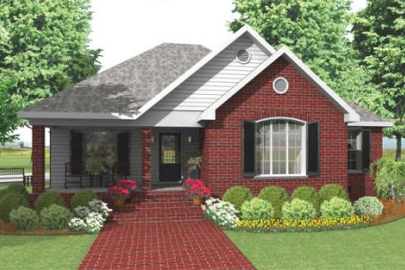 Traditional Style House Plan - 3 Beds 2 Baths 1600 Sq/Ft Plan #406-142 Exterior - Front Elevation