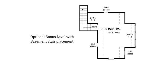 House Plan Design - Optional Bonus Level w/ Basement Stair