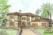 Mediterranean Style House Plan - 5 Beds 6.5 Baths 5642 Sq/Ft Plan #420-176 Exterior - Other Elevation