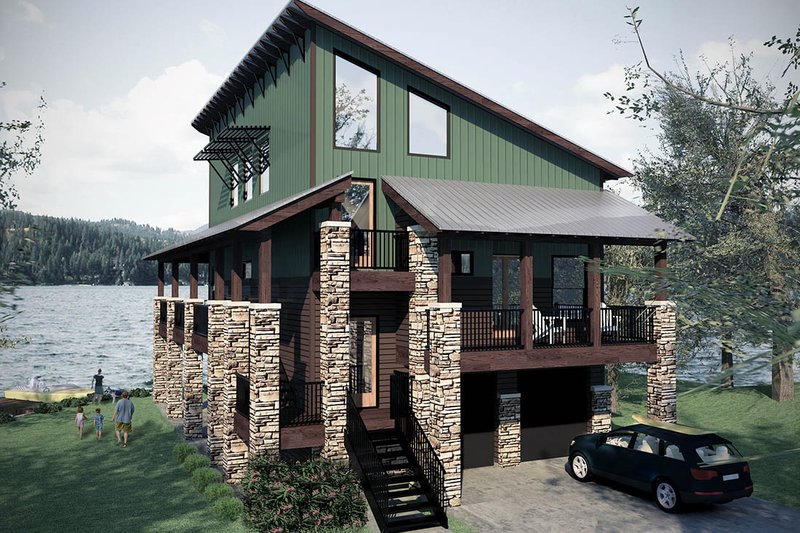 Modern Style House Plan - 2 Beds 3.5 Baths 2346 Sq/Ft Plan #472-3 Exterior - Front Elevation