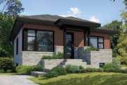 Contemporary Style House Plan - 2 Beds 1 Baths 821 Sq/Ft Plan #25-4407 Exterior - Front Elevation