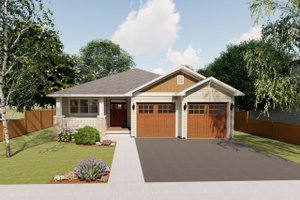 Craftsman Exterior - Front Elevation Plan #126-199