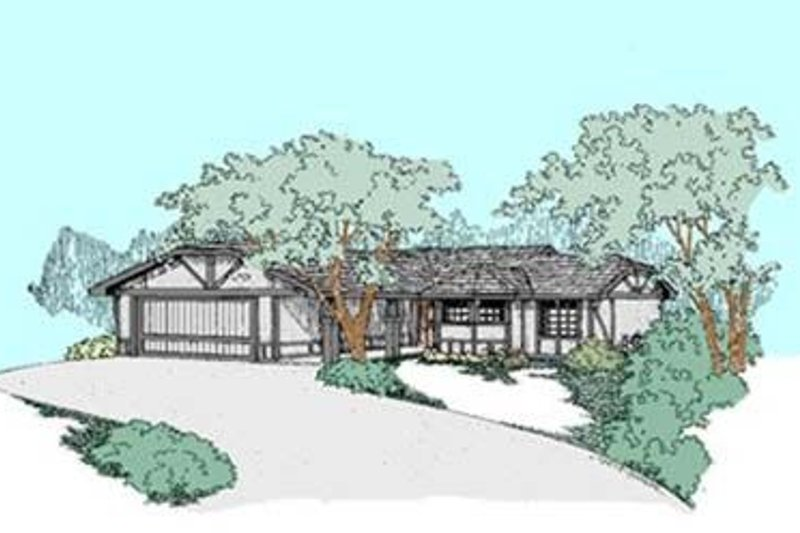Ranch Style House Plan - 3 Beds 2 Baths 1358 Sq/Ft Plan #60-420 Exterior - Front Elevation