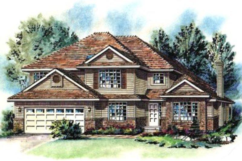 Architectural House Design - European Exterior - Front Elevation Plan #18-237