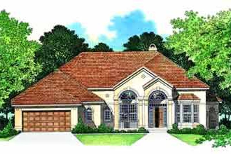 House Blueprint - Mediterranean Exterior - Front Elevation Plan #72-388