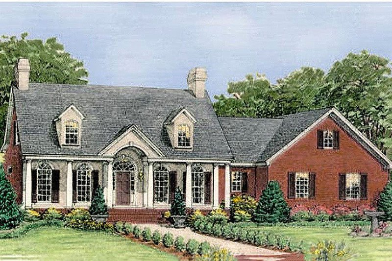 Colonial Style House Plan - 3 Beds 2.5 Baths 2286 Sq/Ft Plan #406-141 Exterior - Front Elevation