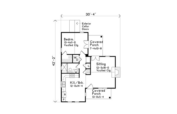 House Plan Design - Cottage Floor Plan - Main Floor Plan #22-572