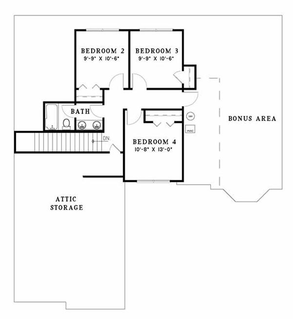 European Floor Plan - Upper Floor Plan Plan #17-2046