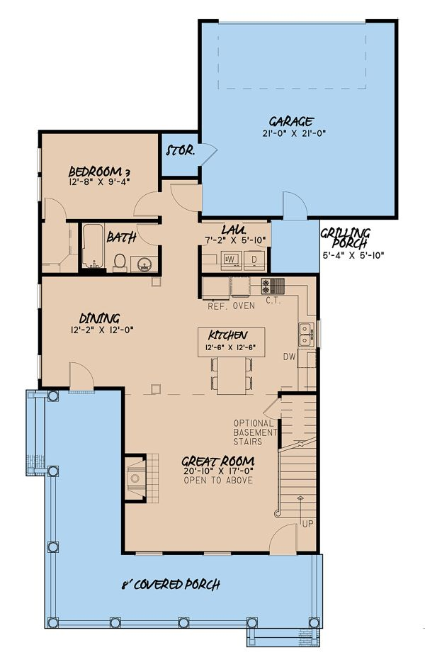 Country Floor Plan - Main Floor Plan Plan #923-143