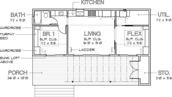 Modern Style House Plan - 1 Beds 1 Baths 640 Sq/Ft Plan #449-14 Floor Plan - Main Floor Plan