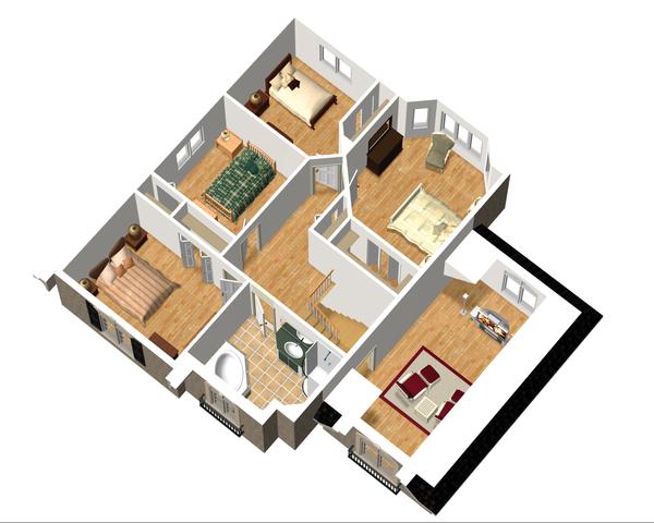 European Floor Plan - Upper Floor Plan Plan #25-4712