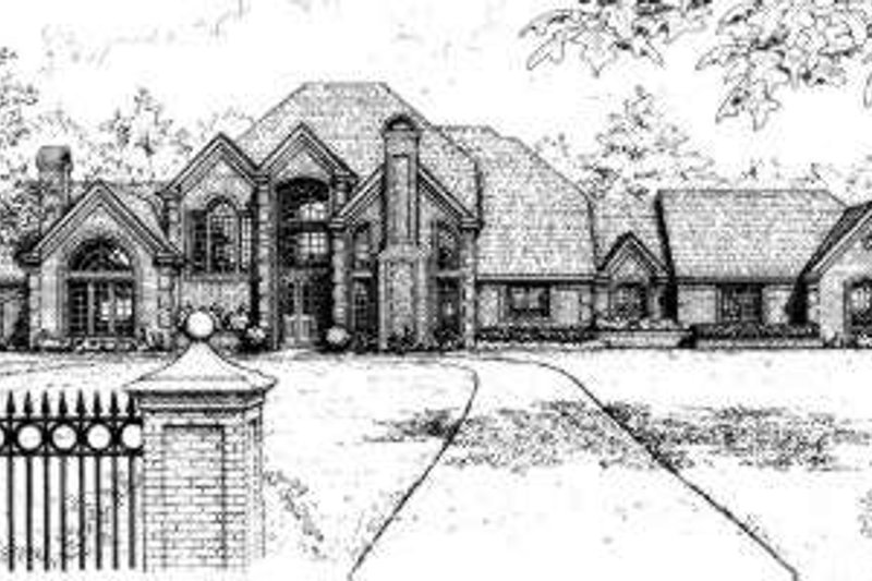 European Style House Plan - 4 Beds 4.5 Baths 4326 Sq/Ft Plan #310-153 Exterior - Front Elevation