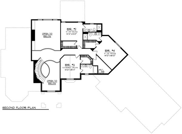 European Floor Plan - Upper Floor Plan Plan #70-1150