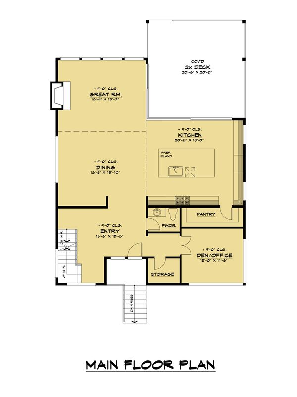 Modern Floor Plan - Main Floor Plan Plan #1066-109