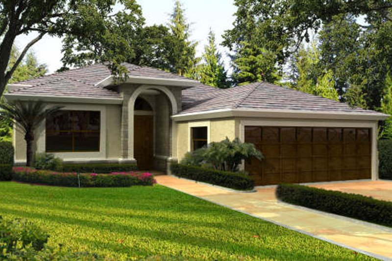 Mediterranean Style House Plan - 3 Beds 3.5 Baths 2998 Sq/Ft Plan #420-274 Exterior - Front Elevation