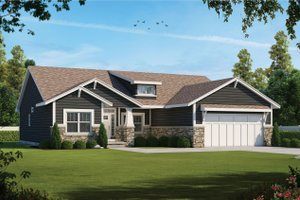 Craftsman Exterior - Front Elevation Plan #20-2412
