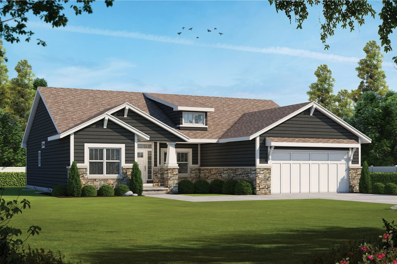 Craftsman Style House Plan - 3 Beds 2.5 Baths 2407 Sq/Ft Plan #20-2412 Exterior - Front Elevation