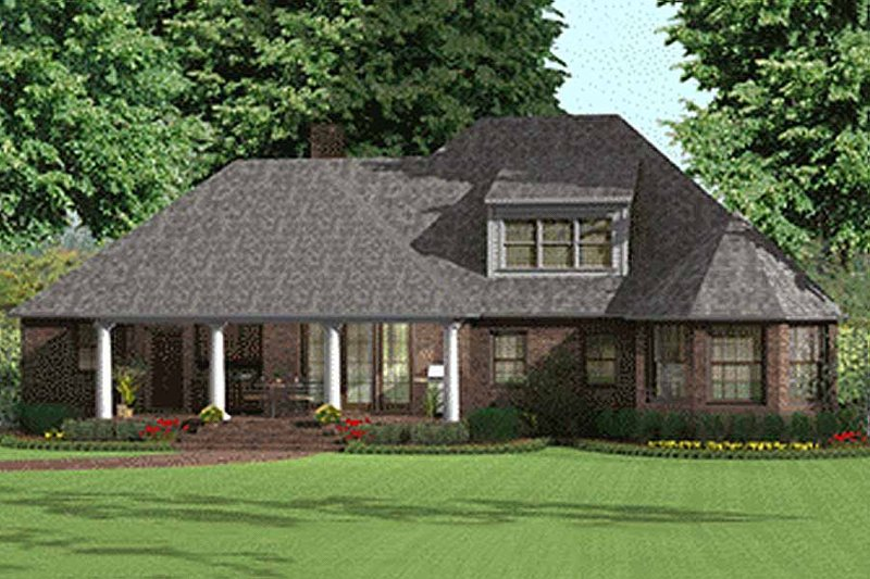 Southern Exterior - Rear Elevation Plan #406-143 - Houseplans.com