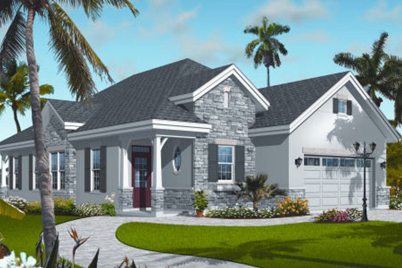 Cottage Exterior - Front Elevation Plan #23-2214
