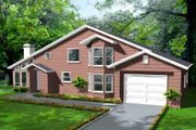House Plan - 3 Beds 2 Baths 2058 Sq/Ft Plan #1-1413 Exterior - Front Elevation