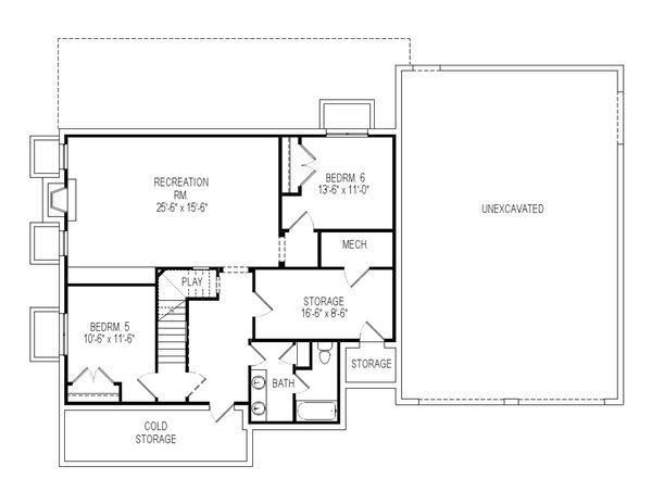 Craftsman Floor Plan - Lower Floor Plan Plan #920-36