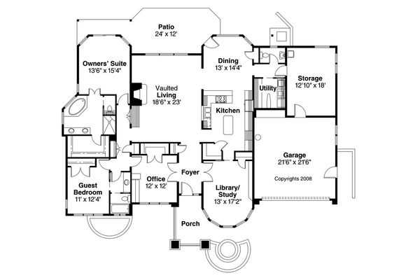 Ranch Floor Plan - Main Floor Plan Plan #124-522