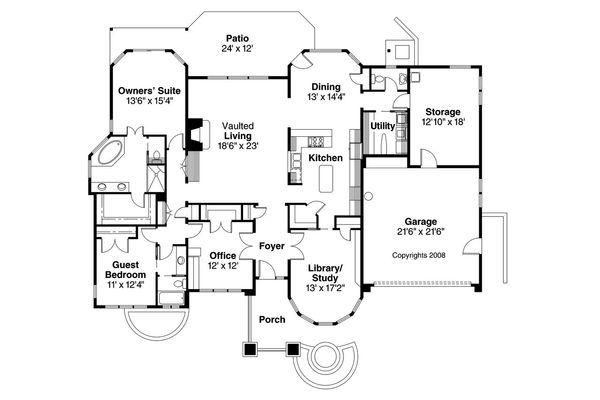 Ranch Floor Plan - Main Floor Plan Plan #124-522