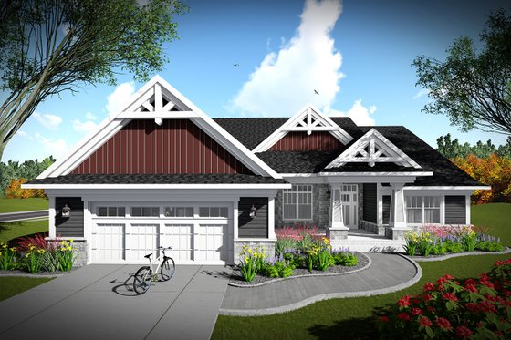 Architectural House Design - Ranch Exterior - Front Elevation Plan #70-1464
